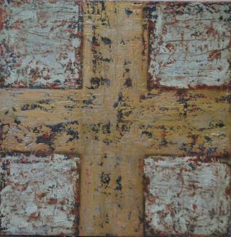 Cross III   2013   Mixed media on canvas  100x100cm   © Oleg Bogomolov   SOLD