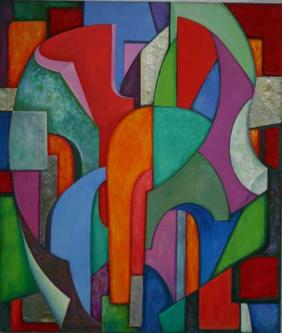 Head   2005   Mixed media on canvas   120x140cm   © Oleg Bogomolov
