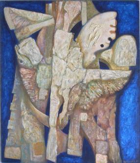 Leda and swan   2005 Mixed media on canvas   120x140cm   © Oleg Bogomolov