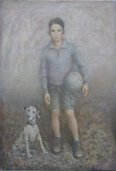 Boy with dog | 2012 | Mixed media on canvas | 82x108 cm | © Oleg Bogomolov